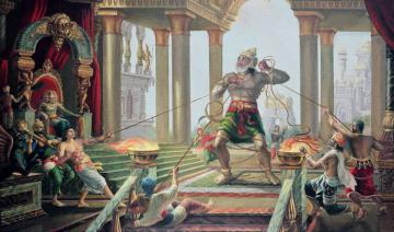 Hanuman in the palace of Ravana