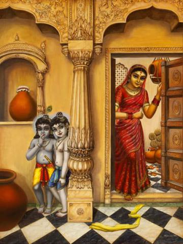 Krishna Balaram hiding from mother Yashoda