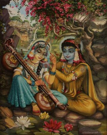 Radha playing vina