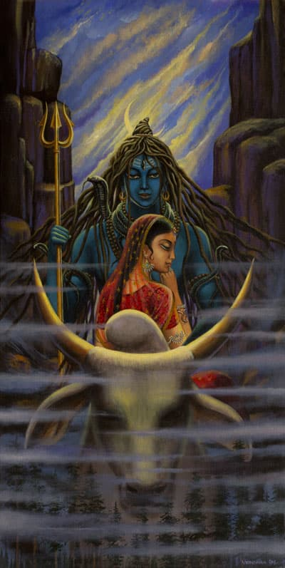 Shiva Parvati. Night in Himalayas