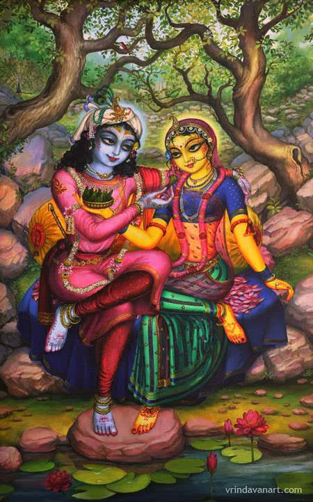 Krishna offering pan to Radha