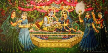 Radha Krishna. Bhojan lila on bank of Yamuna
