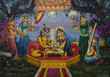 Radha Krishna Bhojan lila on Yamuna on full moon