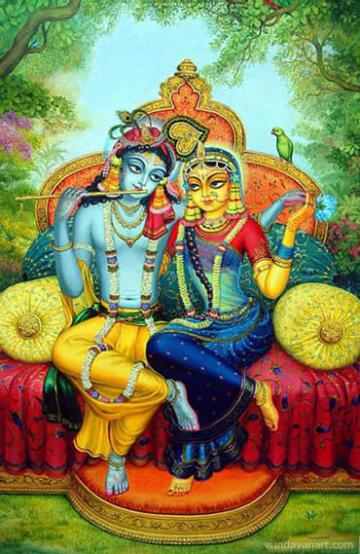 Radha Krishna on the throne